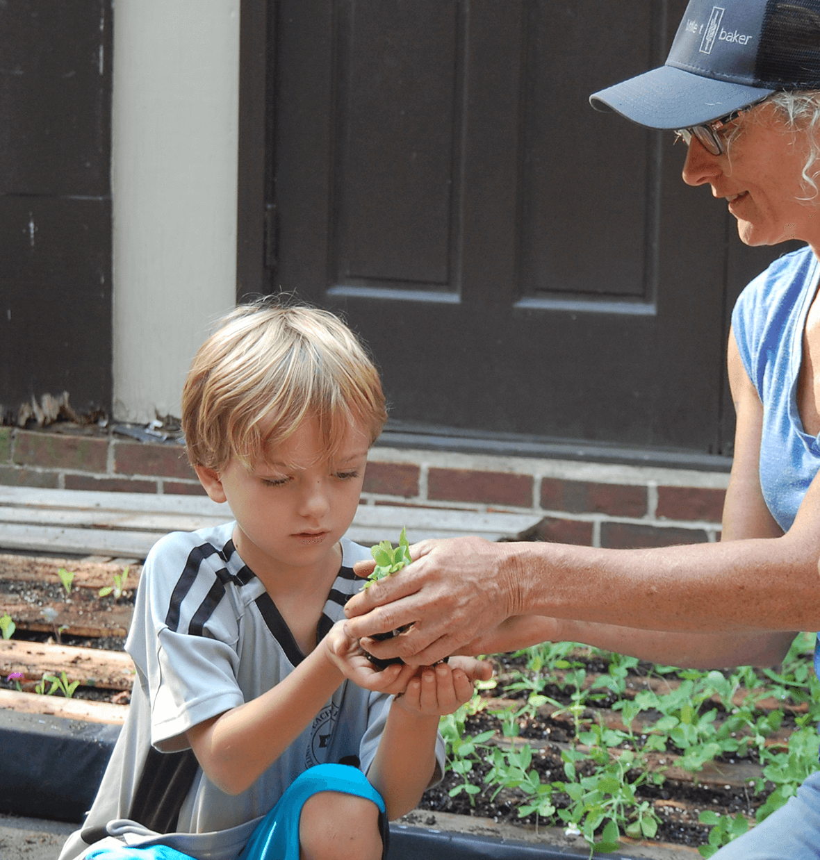 Young gardener -child holding plant with teacher helping