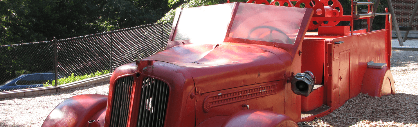 Paideia's old fire truck on the playground